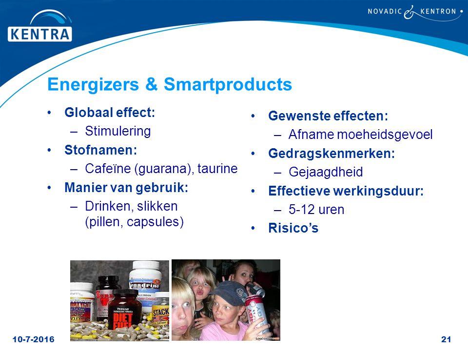 10-7-201621 Energizers & Smartproducts Globaal effect: –Stimulering Stofnamen: –Cafeïne (guarana), taurine Manier van gebruik: –Drinken, slikken (pill