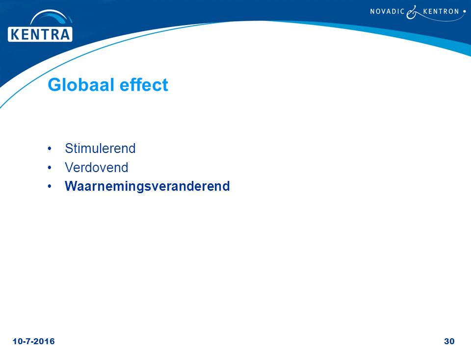 10-7-201630 Globaal effect Stimulerend Verdovend Waarnemingsveranderend