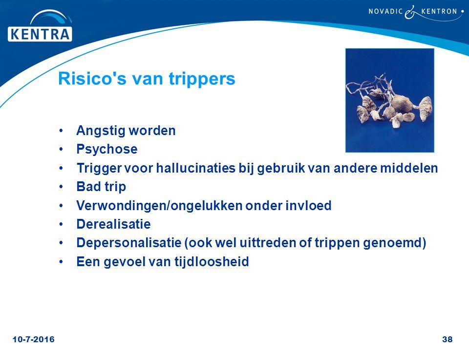 10-7-201638 Risico's van trippers Angstig worden Psychose Trigger voor hallucinaties bij gebruik van andere middelen Bad trip Verwondingen/ongelukken