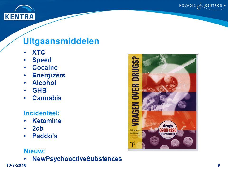 10-7-20169 Uitgaansmiddelen XTC Speed Cocaine Energizers Alcohol GHB Cannabis Incidenteel: Ketamine 2cb Paddo's Nieuw: NewPsychoactiveSubstances