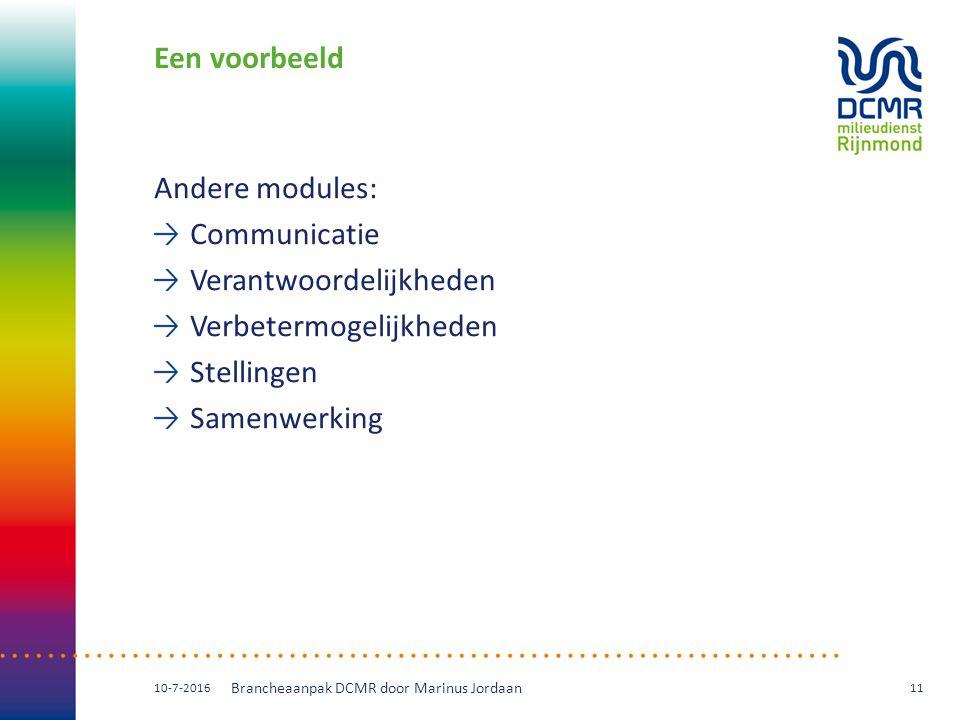 Een voorbeeld Andere modules: Communicatie Verantwoordelijkheden Verbetermogelijkheden Stellingen Samenwerking 10-7-2016 Brancheaanpak DCMR door Marinus Jordaan 11
