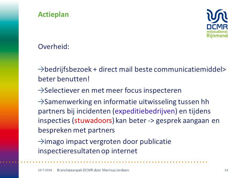 Actieplan Overheid: bedrijfsbezoek + direct mail beste communicatiemiddel> beter benutten! Selectiever en met meer focus inspecteren Samenwerking en i