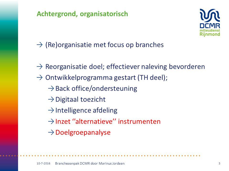 Achtergrond, organisatorisch (Re)organisatie met focus op branches Reorganisatie doel; effectiever naleving bevorderen Ontwikkelprogramma gestart (TH