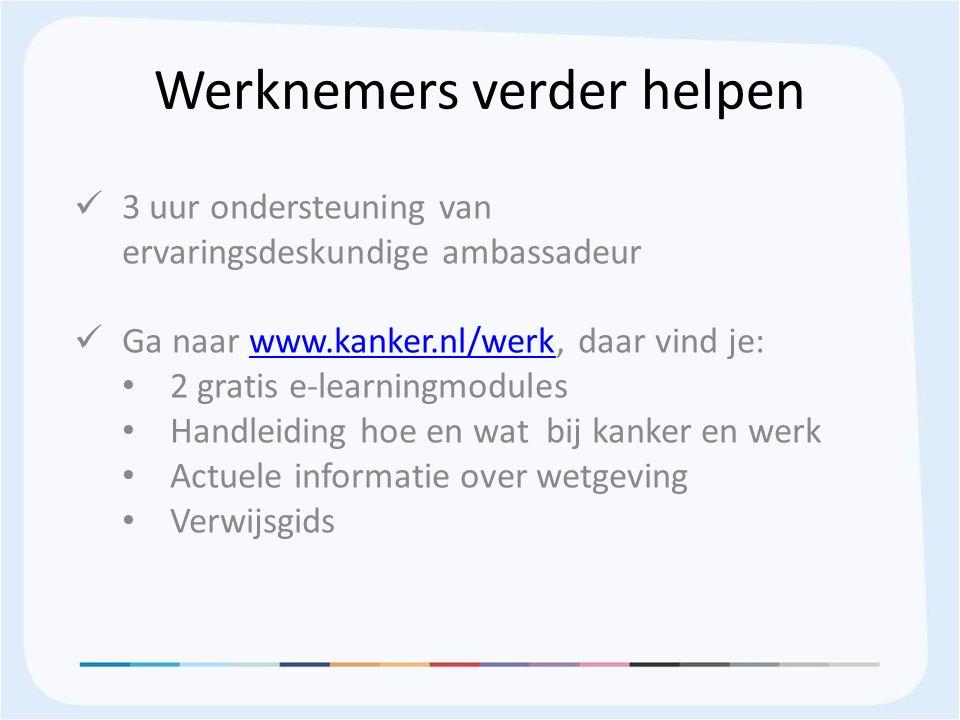 Werknemers verder helpen 3 uur ondersteuning van ervaringsdeskundige ambassadeur Ga naar www.kanker.nl/werk, daar vind je:www.kanker.nl/werk 2 gratis e-learningmodules Handleiding hoe en wat bij kanker en werk Actuele informatie over wetgeving Verwijsgids