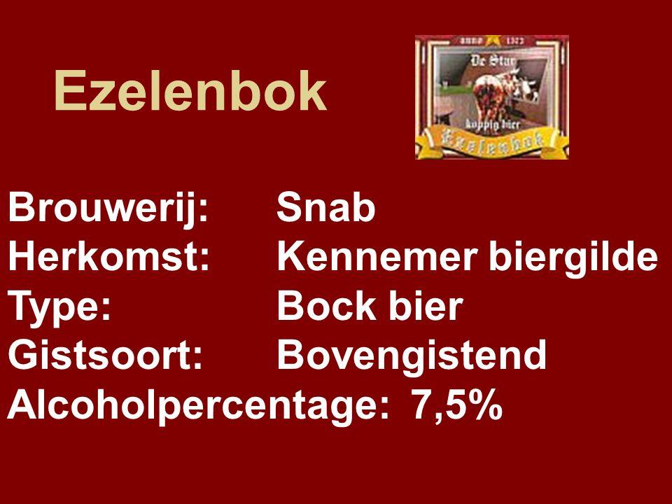 Ezelenbok Brouwerij:Snab Herkomst:Kennemer biergilde Type:Bock bier Gistsoort:Bovengistend Alcoholpercentage:7,5%
