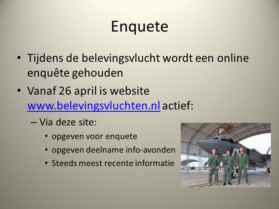 Enquete Tijdens de belevingsvlucht wordt een online enquête gehouden Vanaf 26 april is website www.belevingsvluchten.nl actief: www.belevingsvluchten.