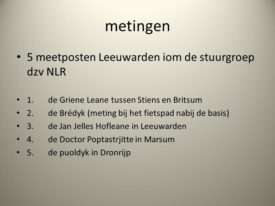metingen 5 meetposten Leeuwarden iom de stuurgroep dzv NLR 1. de Griene Leane tussen Stiens en Britsum 2. de Brédyk (meting bij het fietspad nabij de