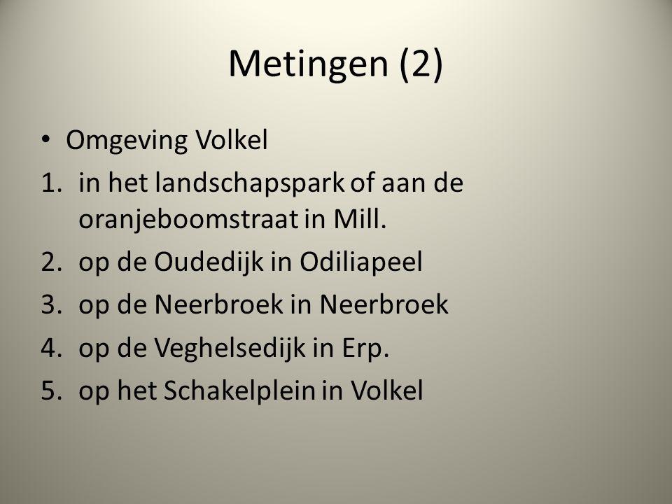 Metingen (2) Omgeving Volkel 1.in het landschapspark of aan de oranjeboomstraat in Mill. 2.op de Oudedijk in Odiliapeel 3.op de Neerbroek in Neerbroek