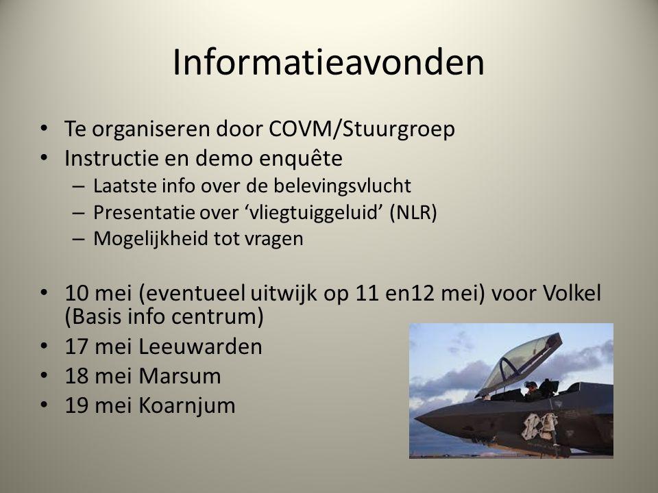 Informatieavonden Te organiseren door COVM/Stuurgroep Instructie en demo enquête – Laatste info over de belevingsvlucht – Presentatie over 'vliegtuigg