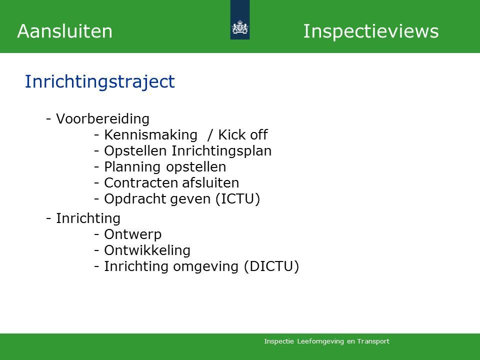 Inspectie Leefomgeving en Transport -Voorbereiding - Kennismaking / Kick off - Opstellen Inrichtingsplan - Planning opstellen - Contracten afsluiten - Opdracht geven (ICTU) -Inrichting - Ontwerp - Ontwikkeling - Inrichting omgeving (DICTU) Aansluiten Inspectieviews Inrichtingstraject