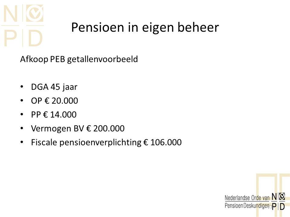 Pensioen in eigen beheer Afkoop PEB getallenvoorbeeld DGA 45 jaar OP € 20.000 PP € 14.000 Vermogen BV € 200.000 Fiscale pensioenverplichting € 106.000