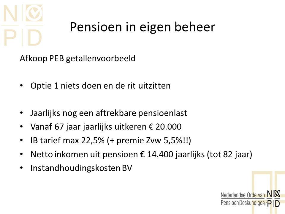 Pensioen in eigen beheer Afkoop PEB getallenvoorbeeld Optie 1 niets doen en de rit uitzitten Jaarlijks nog een aftrekbare pensioenlast Vanaf 67 jaar j