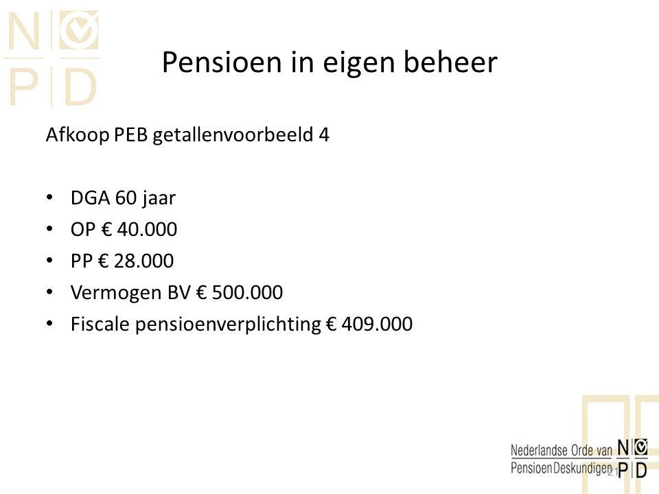 Pensioen in eigen beheer Afkoop PEB getallenvoorbeeld 4 DGA 60 jaar OP € 40.000 PP € 28.000 Vermogen BV € 500.000 Fiscale pensioenverplichting € 409.0