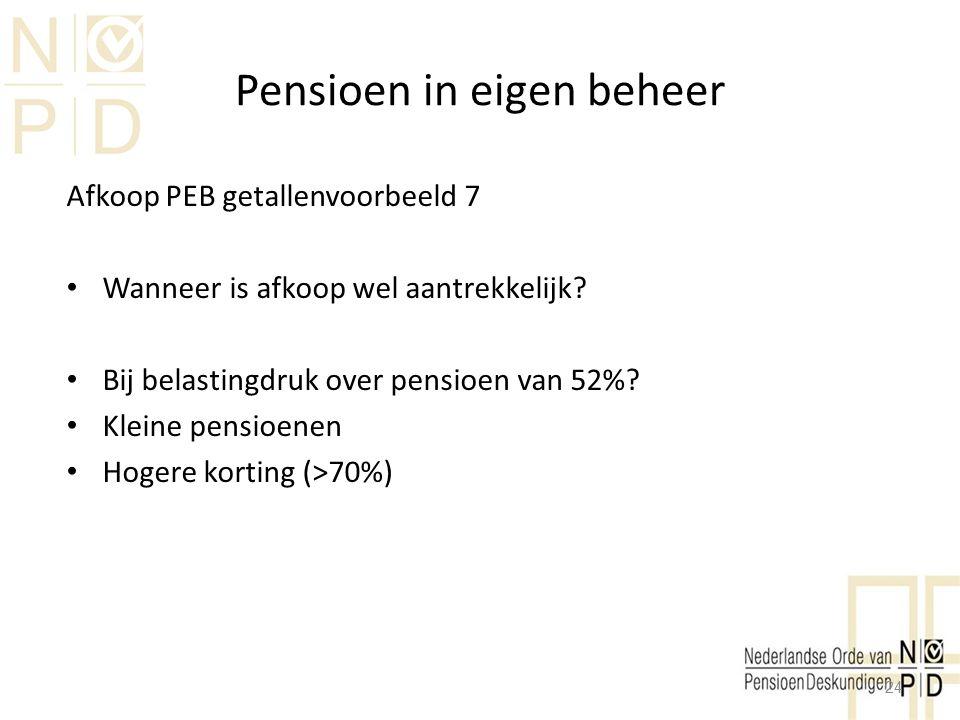 Pensioen in eigen beheer Afkoop PEB getallenvoorbeeld 7 Wanneer is afkoop wel aantrekkelijk? Bij belastingdruk over pensioen van 52%? Kleine pensioene