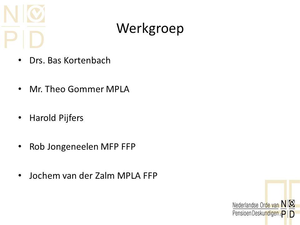 Werkgroep Drs. Bas Kortenbach Mr. Theo Gommer MPLA Harold Pijfers Rob Jongeneelen MFP FFP Jochem van der Zalm MPLA FFP 4