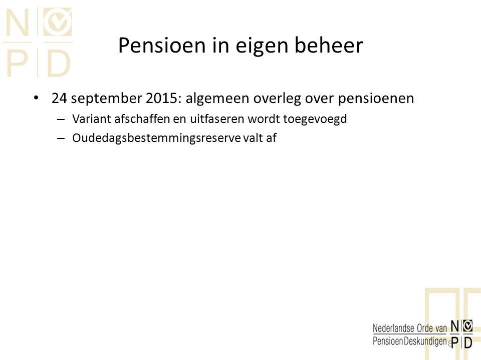 Pensioen in eigen beheer Afkoop PEB getallenvoorbeeld 2 Optie 2 afkopen Heffing IB 52% van 70% (€ 38.625) Middelen reserveren voor oudedag (BV of prive) Privé, box 3 heffing 1,2% per jaar (ws hoger va 2017) Netto inkomen uit pensioen € 14.400 jaarlijks (tot 79 jaar) 19