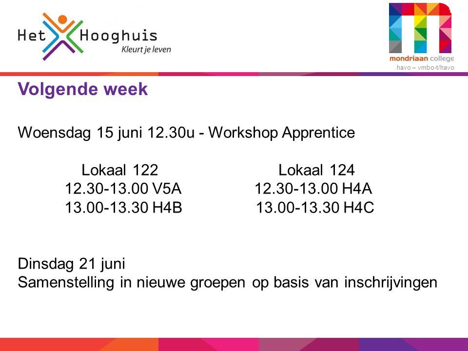havo – vmbo-t/havo Volgende week Woensdag 15 juni 12.30u - Workshop Apprentice Lokaal 122 Lokaal 124 12.30-13.00 V5A 12.30-13.00 H4A 13.00-13.30 H4B 1