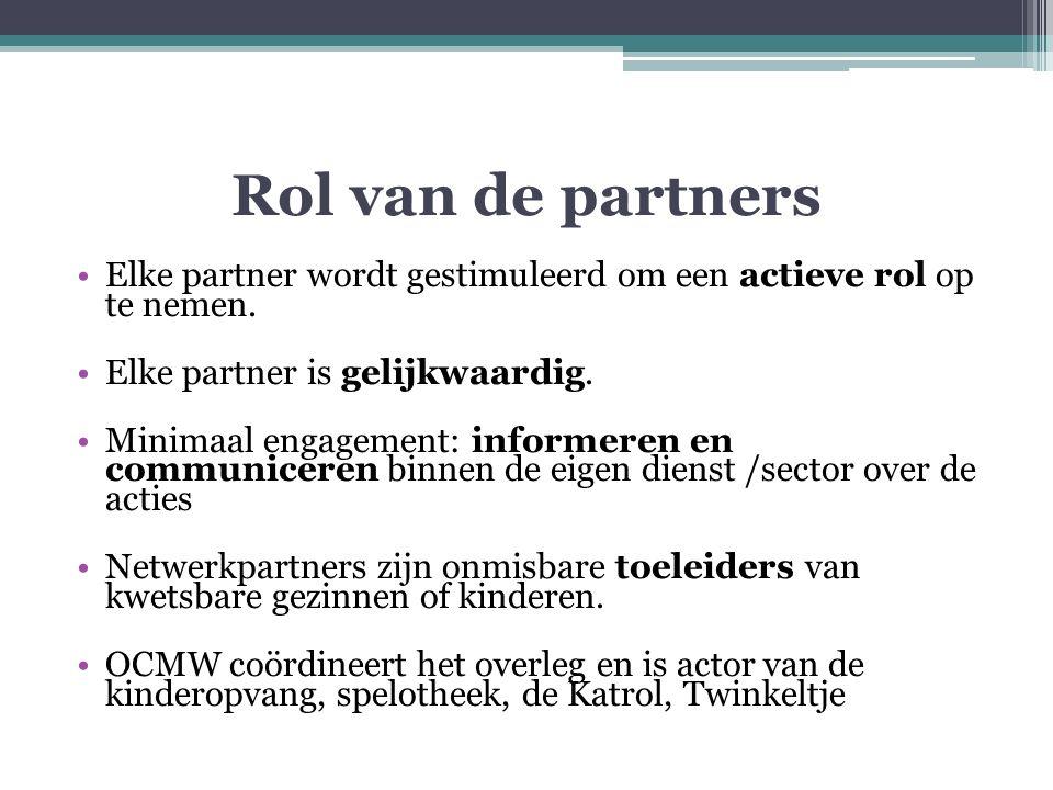 Rol van de partners Elke partner wordt gestimuleerd om een actieve rol op te nemen.