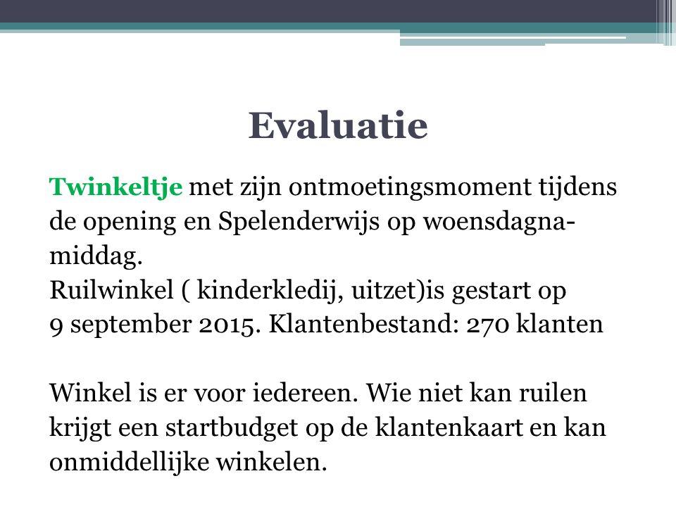 Evaluatie Twinkeltje met zijn ontmoetingsmoment tijdens de opening en Spelenderwijs op woensdagna- middag.