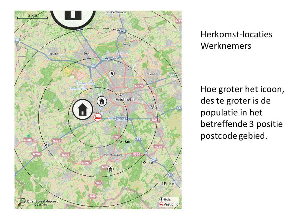 Herkomst-locaties Werknemers Hoe groter het icoon, des te groter is de populatie in het betreffende 3 positie postcode gebied.