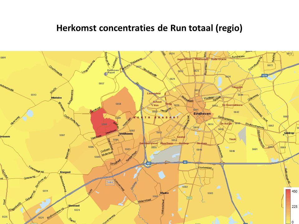 Herkomst concentraties de Run totaal (regio)