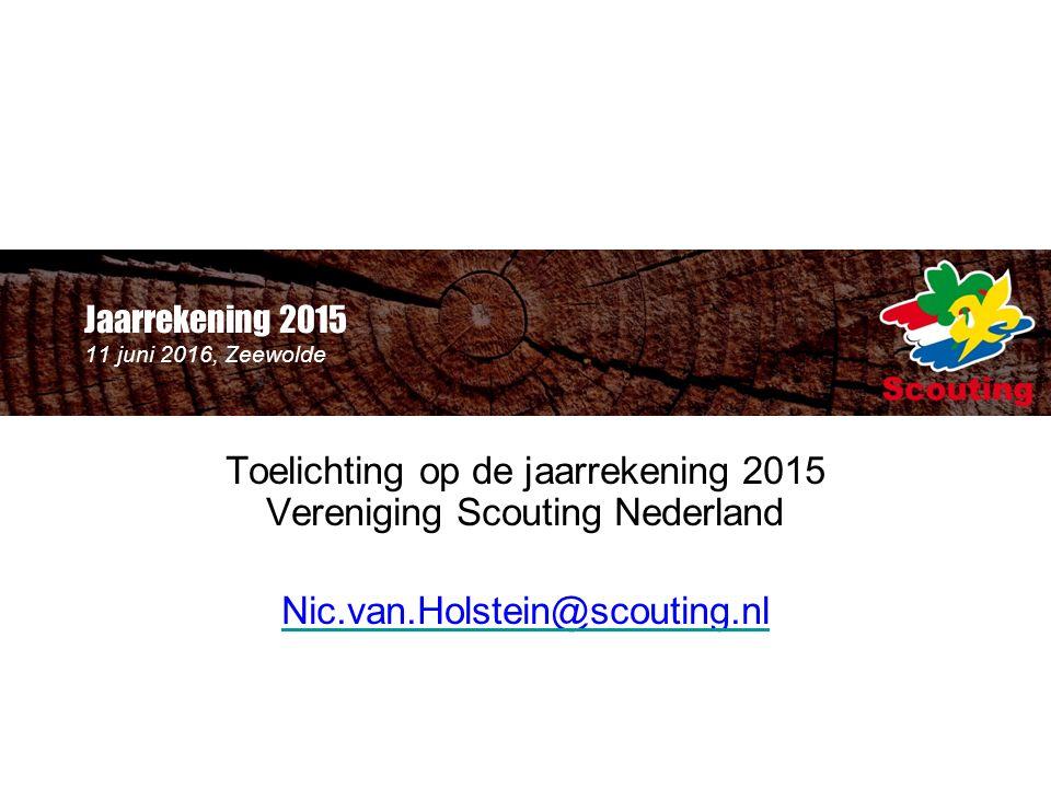 Jaarrekening 2015 11 juni 2016, Zeewolde Toelichting op de jaarrekening 2015 Vereniging Scouting Nederland Nic.van.Holstein@scouting.nl