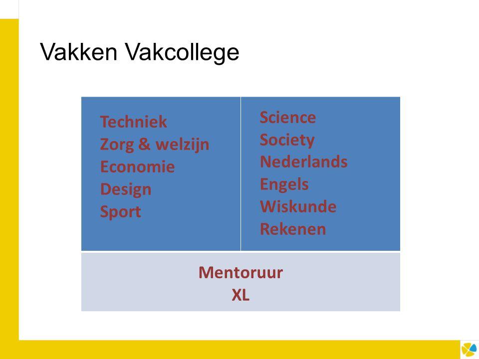 Vakken Vakcollege Techniek Zorg & welzijn Economie Design Sport Science Society Nederlands Engels Wiskunde Rekenen Mentoruur XL