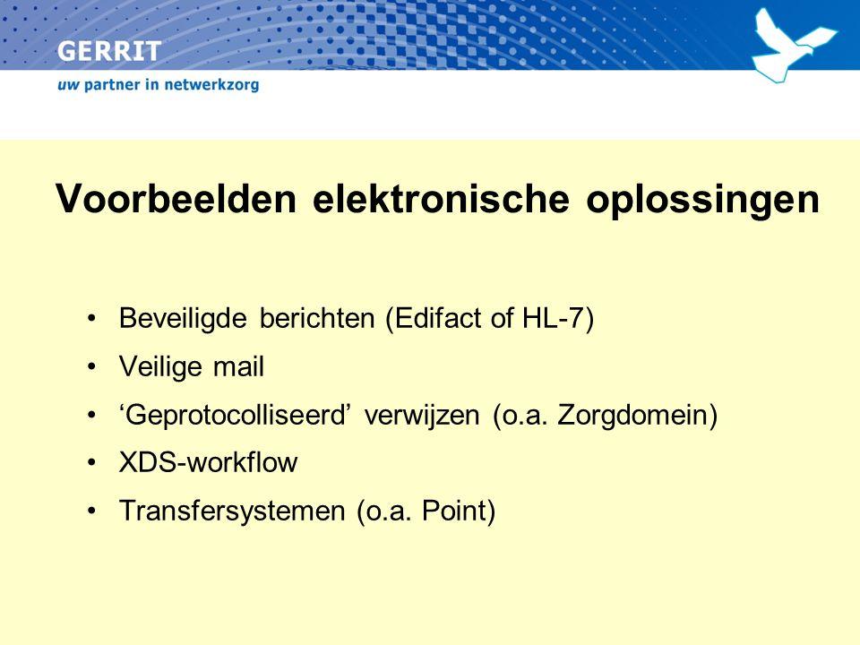 Voorbeelden elektronische oplossingen Beveiligde berichten (Edifact of HL-7) Veilige mail 'Geprotocolliseerd' verwijzen (o.a.