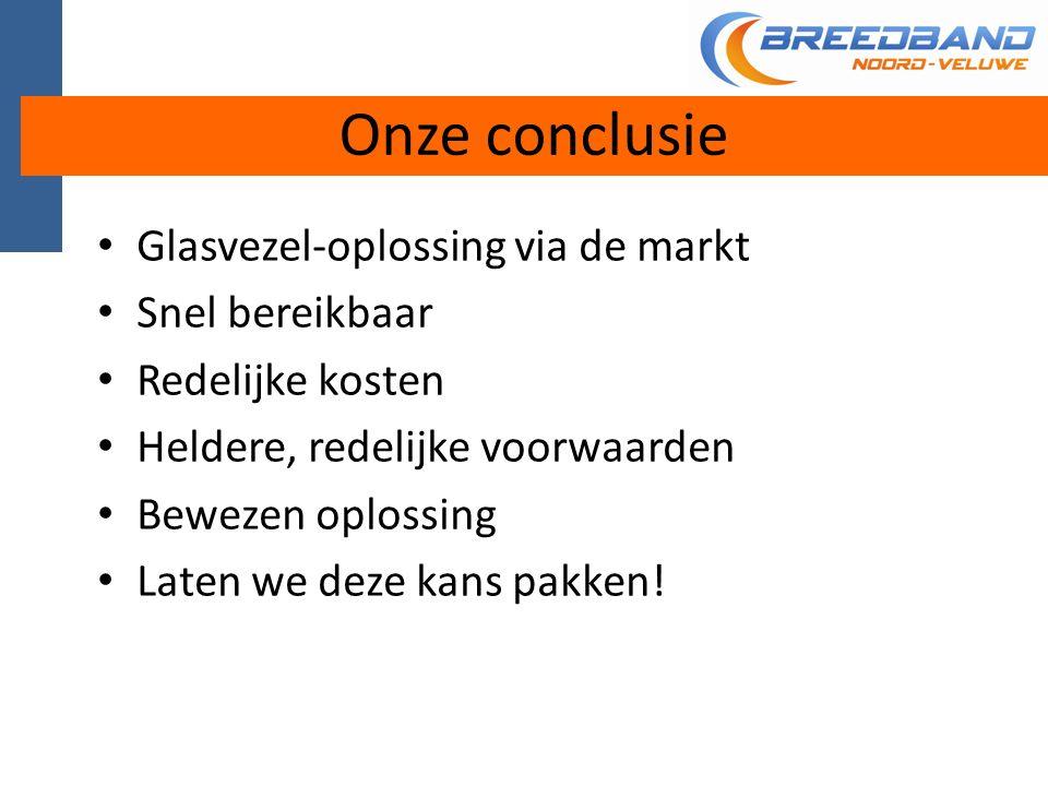 Onze conclusie Glasvezel-oplossing via de markt Snel bereikbaar Redelijke kosten Heldere, redelijke voorwaarden Bewezen oplossing Laten we deze kans pakken!