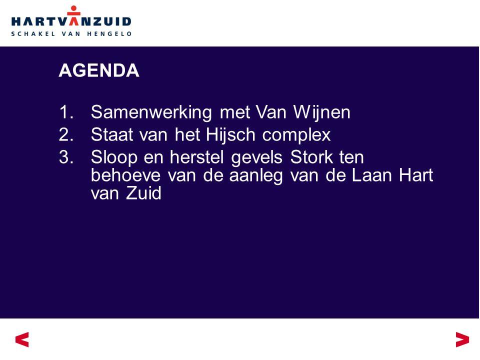 AGENDA 1.Samenwerking met Van Wijnen 2.Staat van het Hijsch complex 3.Sloop en herstel gevels Stork ten behoeve van de aanleg van de Laan Hart van Zuid