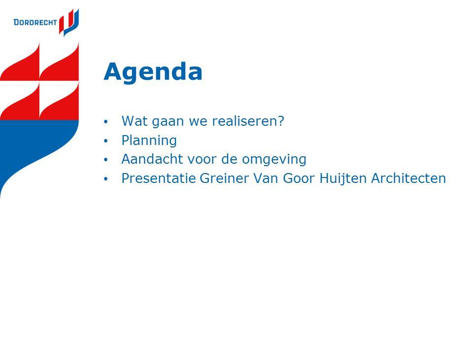 Agenda Wat gaan we realiseren? Planning Aandacht voor de omgeving Presentatie Greiner Van Goor Huijten Architecten