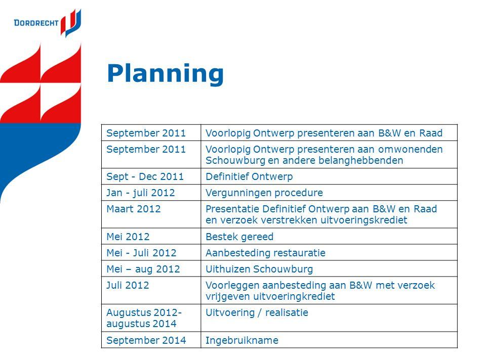 Planning September 2011Voorlopig Ontwerp presenteren aan B&W en Raad September 2011Voorlopig Ontwerp presenteren aan omwonenden Schouwburg en andere b
