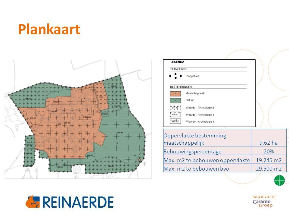 Aangesloten bij: Plankaart Oppervlakte bestemming maatschappelijk9,62 ha Bebouwingspercentage20% Max. m2 te bebouwen oppervlakte19.245 m2 Max. m2 te b