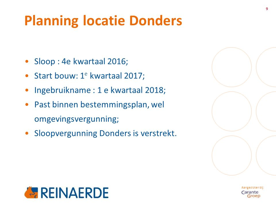 Aangesloten bij: Planning locatie Donders 9 Sloop : 4e kwartaal 2016; Start bouw: 1 e kwartaal 2017; Ingebruikname : 1 e kwartaal 2018; Past binnen bestemmingsplan, wel omgevingsvergunning; Sloopvergunning Donders is verstrekt.