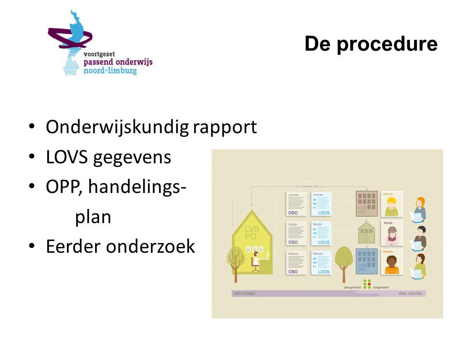 De procedure Onderwijskundig rapport LOVS gegevens OPP, handelings- plan Eerder onderzoek