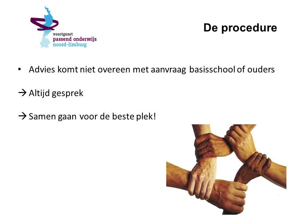 De procedure Advies komt niet overeen met aanvraag basisschool of ouders  Altijd gesprek  Samen gaan voor de beste plek!