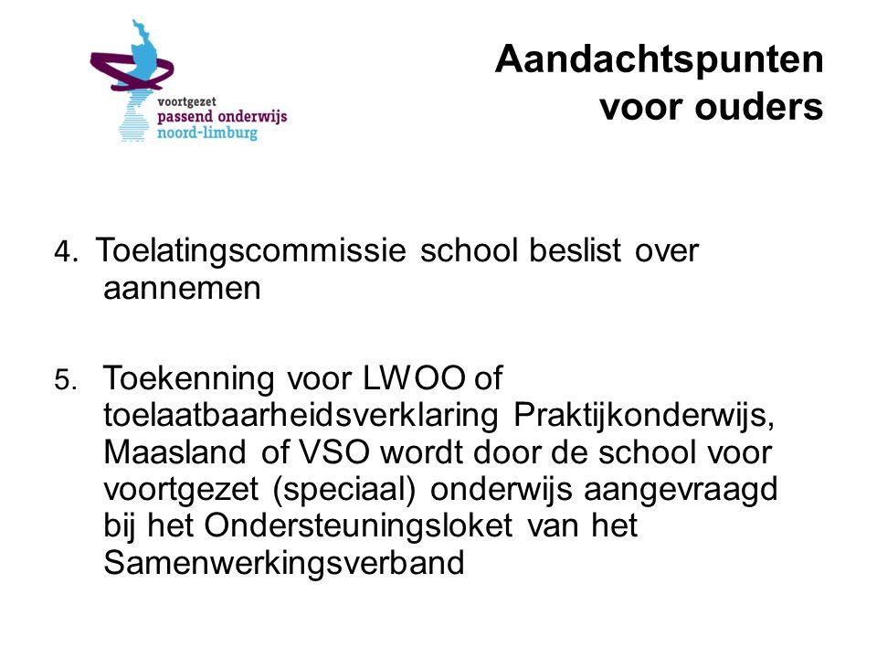 Aandachtspunten voor ouders 4. Toelatingscommissie school beslist over aannemen 5.