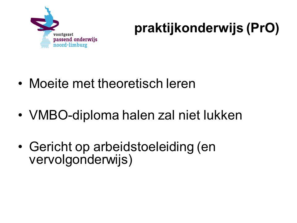 praktijkonderwijs (PrO) Moeite met theoretisch leren VMBO-diploma halen zal niet lukken Gericht op arbeidstoeleiding (en vervolgonderwijs)