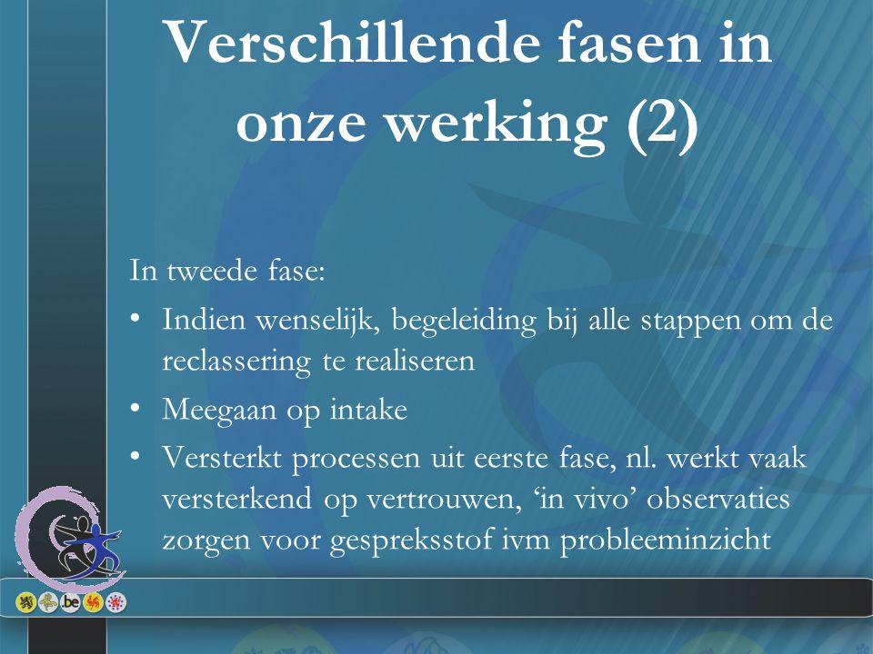 In tweede fase: Indien wenselijk, begeleiding bij alle stappen om de reclassering te realiseren Meegaan op intake Versterkt processen uit eerste fase, nl.