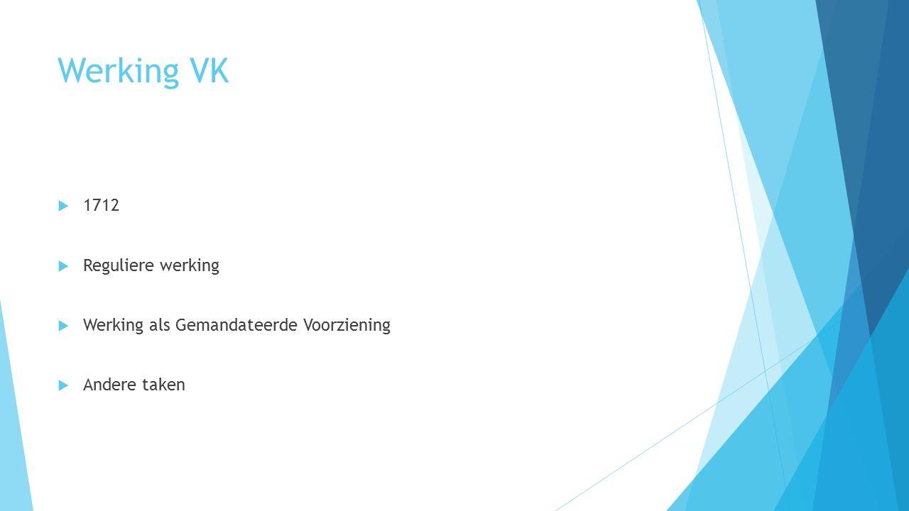Werking VK  1712  Reguliere werking  Werking als Gemandateerde Voorziening  Andere taken
