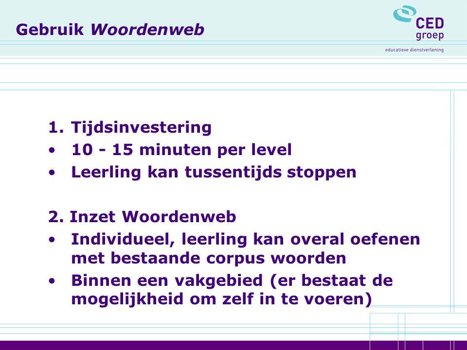 Gebruik Woordenweb 1.Tijdsinvestering 10 - 15 minuten per level Leerling kan tussentijds stoppen 2.
