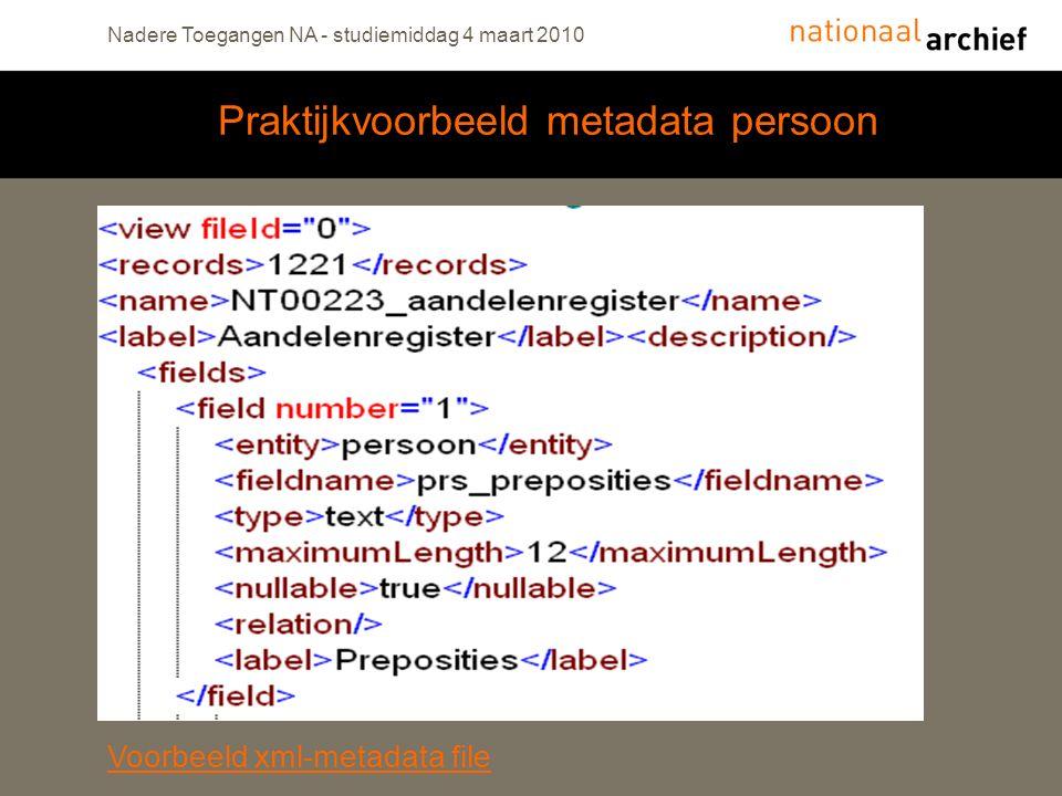 Praktijkvoorbeeld metadata persoon Nadere Toegangen NA - studiemiddag 4 maart 2010 Voorbeeld xml-metadata file