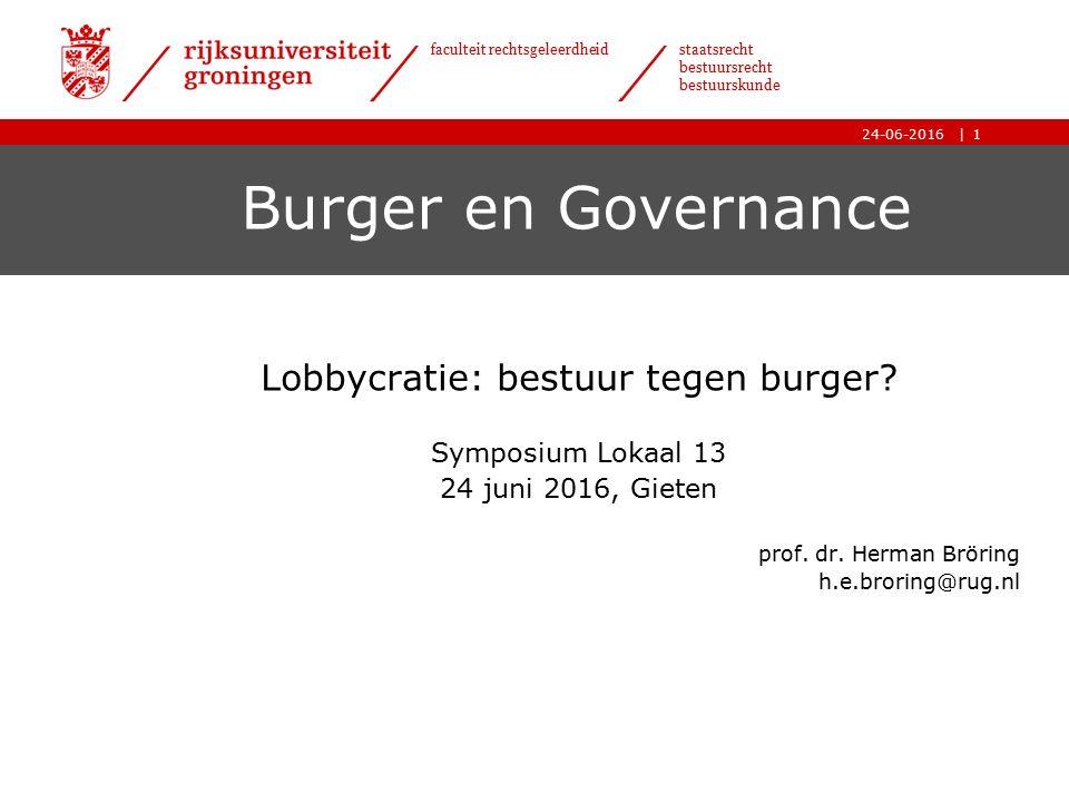 | faculteit rechtsgeleerdheid staatsrecht bestuursrecht bestuurskunde 24-06-2016 Burger en Governance Lobbycratie: bestuur tegen burger.