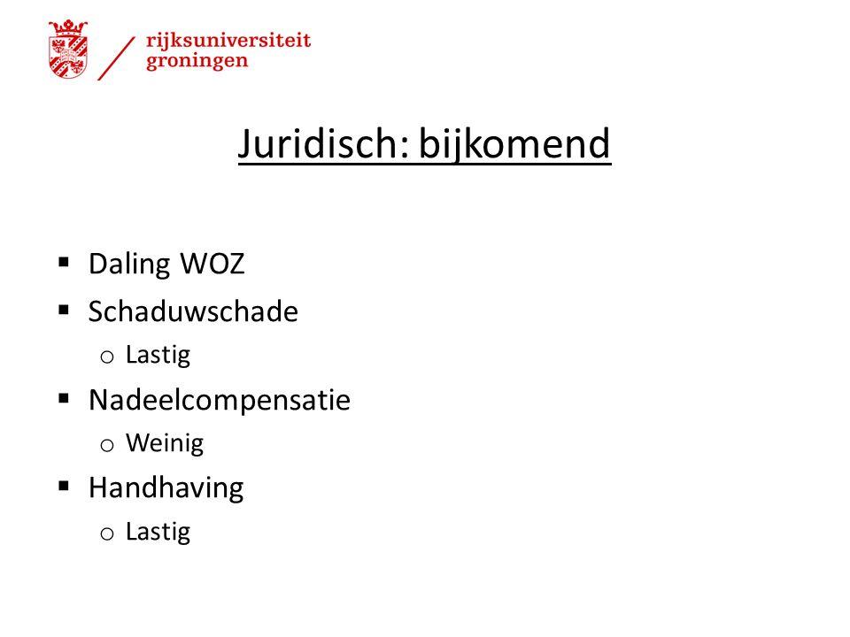 Juridisch: bijkomend  Daling WOZ  Schaduwschade o Lastig  Nadeelcompensatie o Weinig  Handhaving o Lastig 11