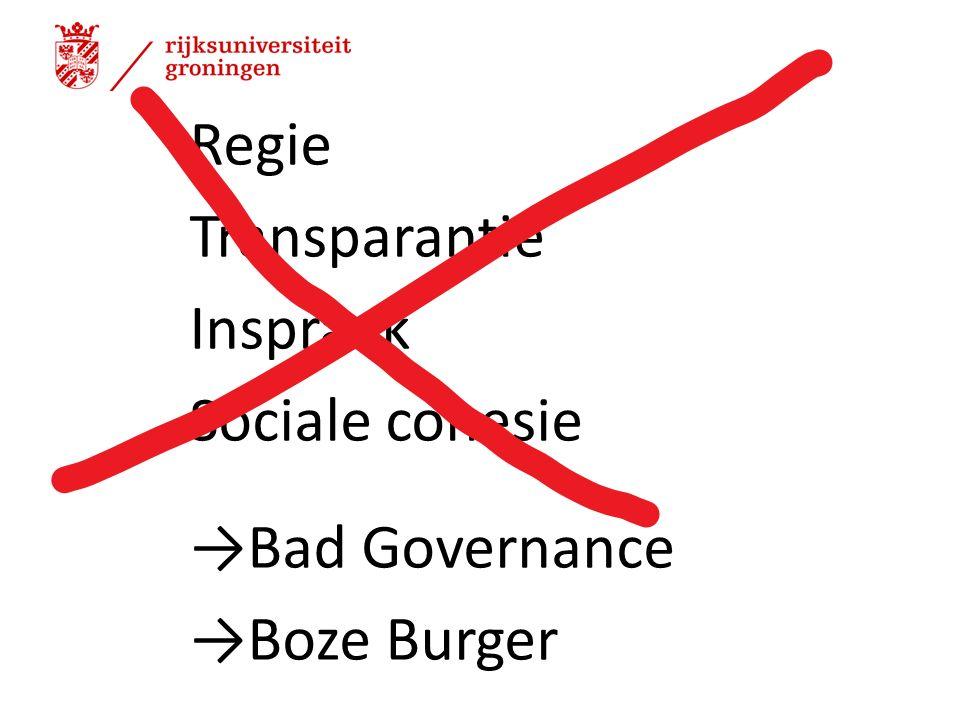 Regie Transparantie Inspraak Sociale cohesie →Bad Governance →Boze Burger 13