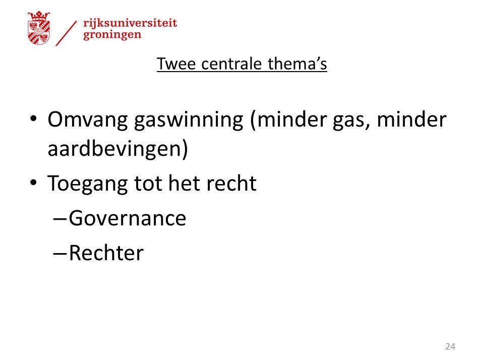 Twee centrale thema's Omvang gaswinning (minder gas, minder aardbevingen) Toegang tot het recht – Governance – Rechter 24