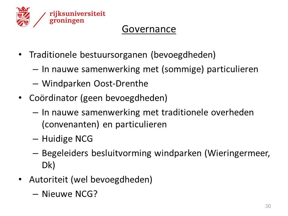 Governance Traditionele bestuursorganen (bevoegdheden) – In nauwe samenwerking met (sommige) particulieren – Windparken Oost-Drenthe Coördinator (geen bevoegdheden) – In nauwe samenwerking met traditionele overheden (convenanten) en particulieren – Huidige NCG – Begeleiders besluitvorming windparken (Wieringermeer, Dk) Autoriteit (wel bevoegdheden) – Nieuwe NCG.