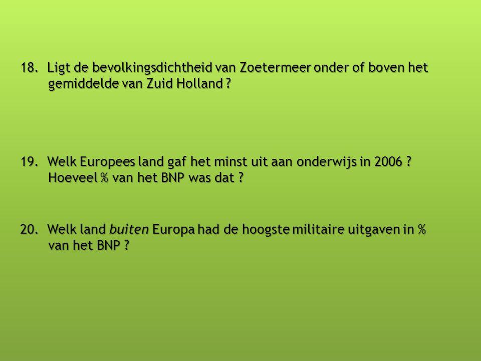 18. Ligt de bevolkingsdichtheid van Zoetermeer onder of boven het gemiddelde van Zuid Holland ? 19. Welk Europees land gaf het minst uit aan onderwijs