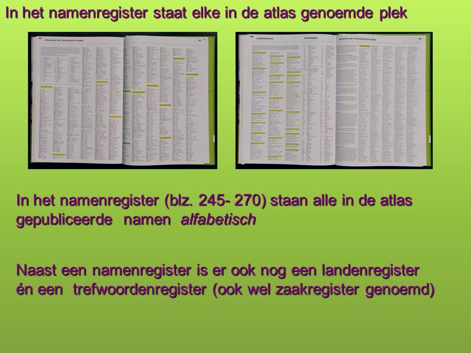 In het namenregister staat elke in de atlas genoemde plek Naast een namenregister is er ook nog een landenregister én een trefwoordenregister (ook wel