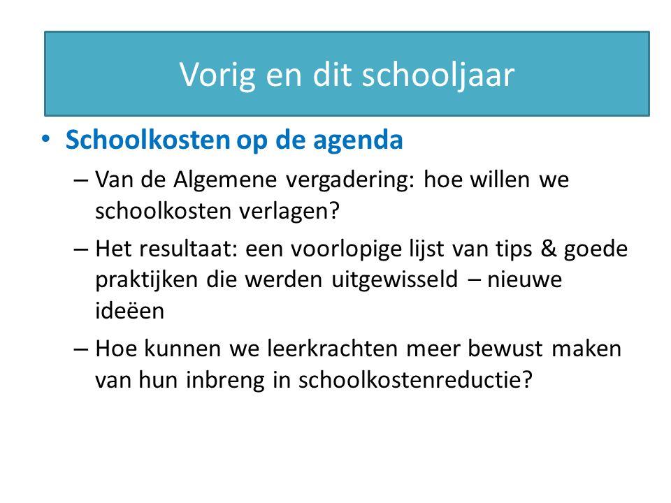 This year Schoolkosten op de agenda – Van de Algemene vergadering: hoe willen we schoolkosten verlagen.